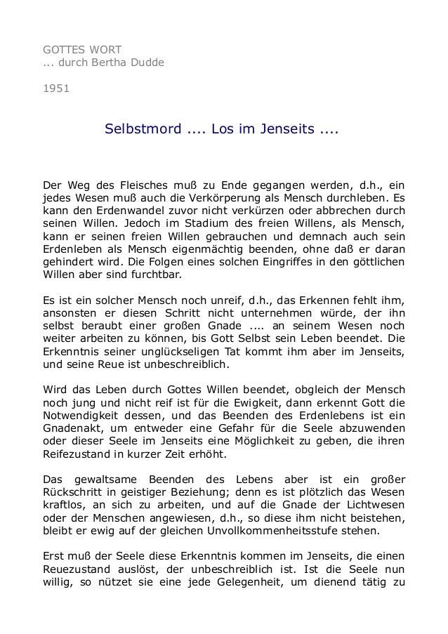 GOTTES WORT ... durch Bertha Dudde 1951  Selbstmord .... Los im Jenseits ....  Der Weg des Fleisches muß zu Ende gegangen ...