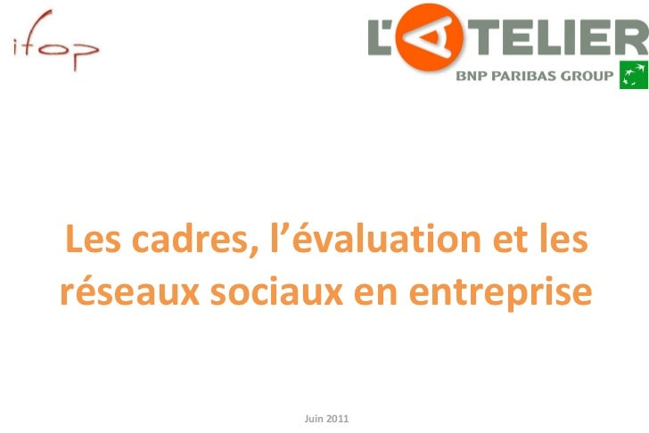 Juin 2011 pour Les cadres, l'évaluation et les réseaux sociaux en entreprise