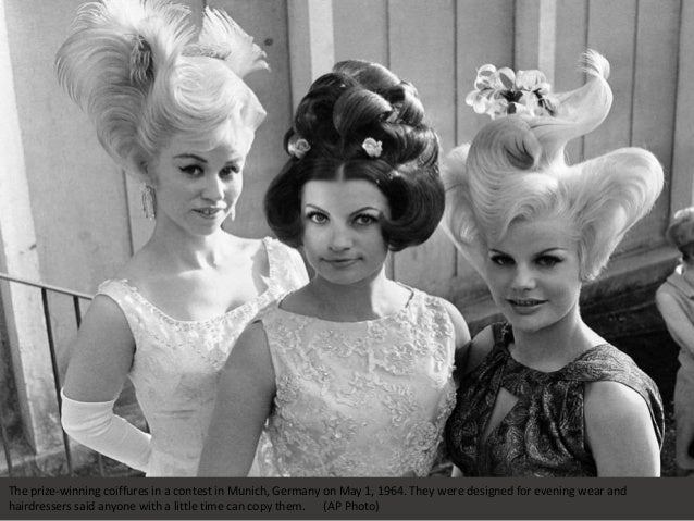 The prize-winning coiffures in a contest in Munich, Germany on May 1, 1964. They were designed for evening wear and hairdr...