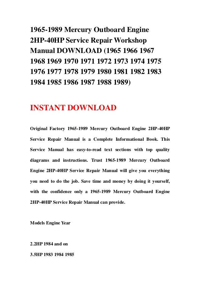 1965 1978 johnson evinrude outboard 1.5hp-35hp service repair workshop manual download