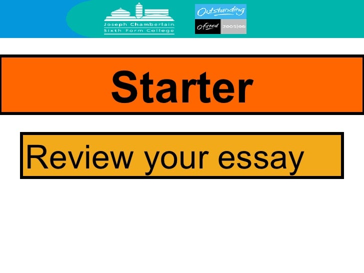 Starter Review your essay