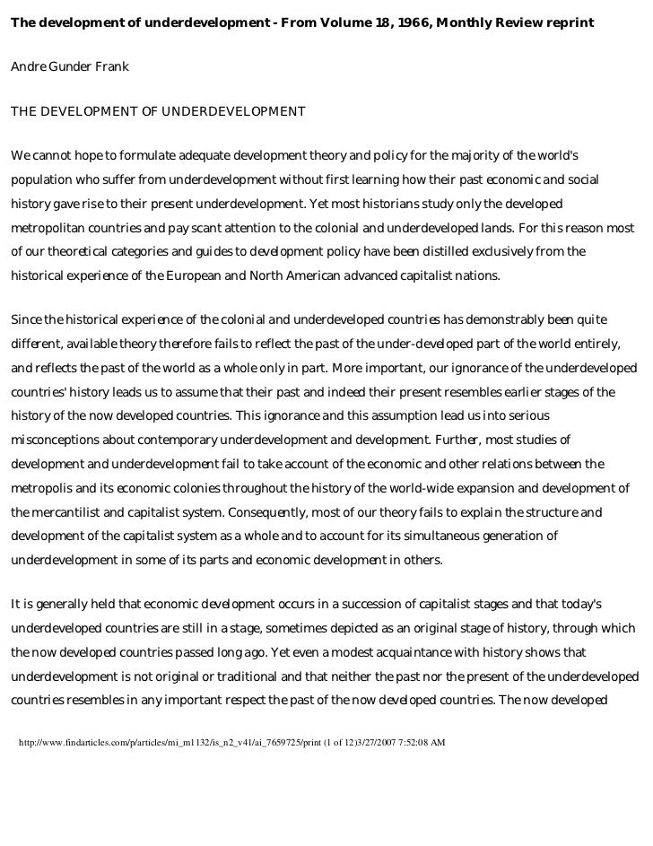 1966 frank-development of underdevelopment