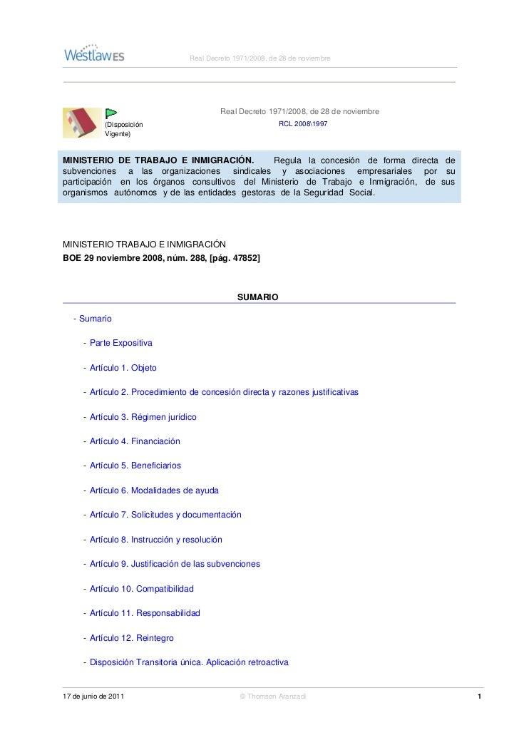 Real Decreto 1971/2008, de 28 de noviembre                                             Real Decreto 1971/2008, de 28 de no...