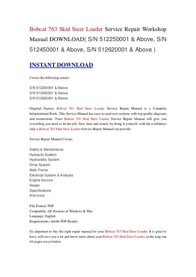 bobcat 763 skid steer loader service repair workshop manual download  u2026