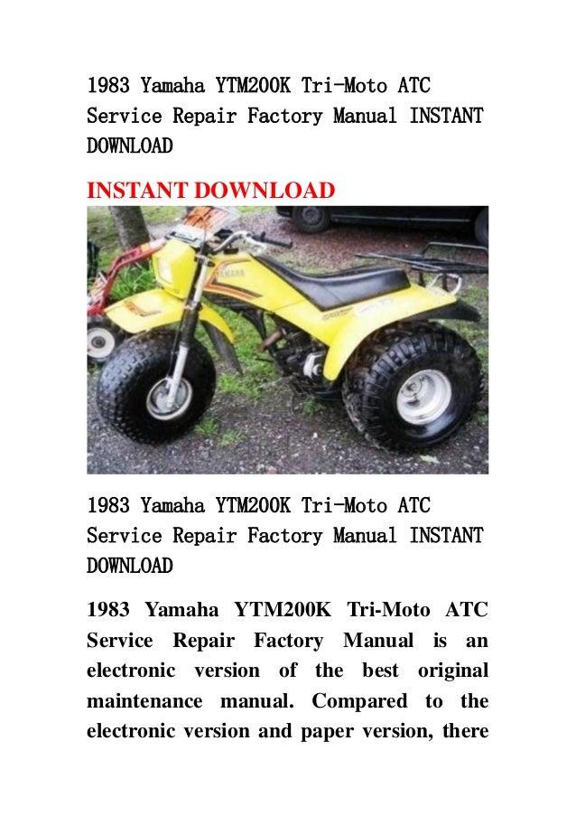 Yamaha Ytm Tri Moto Repair Manual