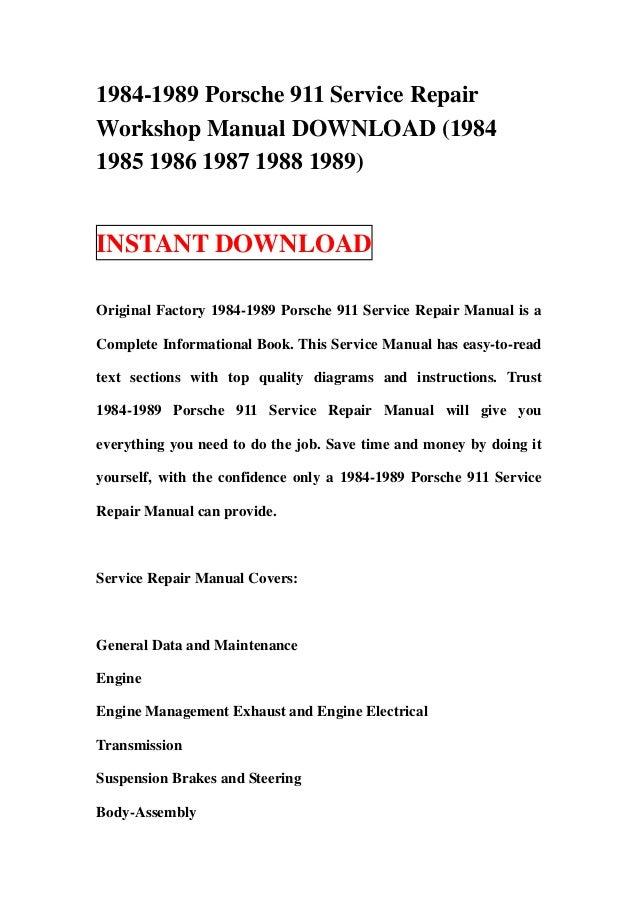 1984 1989 porsche 911 service repair workshop manual. Black Bedroom Furniture Sets. Home Design Ideas