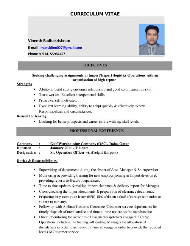 import export resume samples