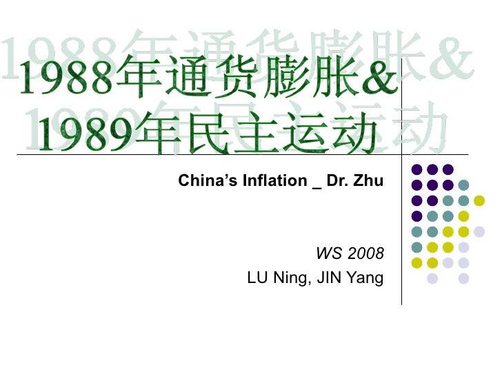 China's Inflation _ Dr. Zhu WS 2008 LU Ning, JIN Yang