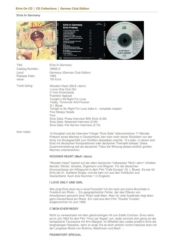 Elvis On CD │ CD Collections │ German Club Edition  Elvis In Germany     Title:                Elvis In Germany Catalog Nu...