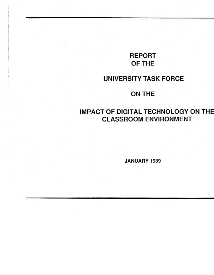 VT 1989 University Task Force Report on Digital Learning Technologies