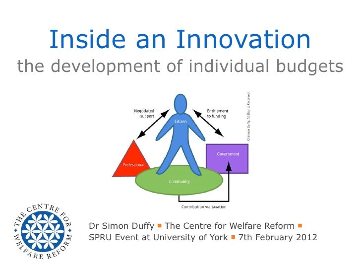 Inside an Innovationthe development of individual budgets        Dr Simon Duffy ■ The Centre for Welfare Reform ■        S...