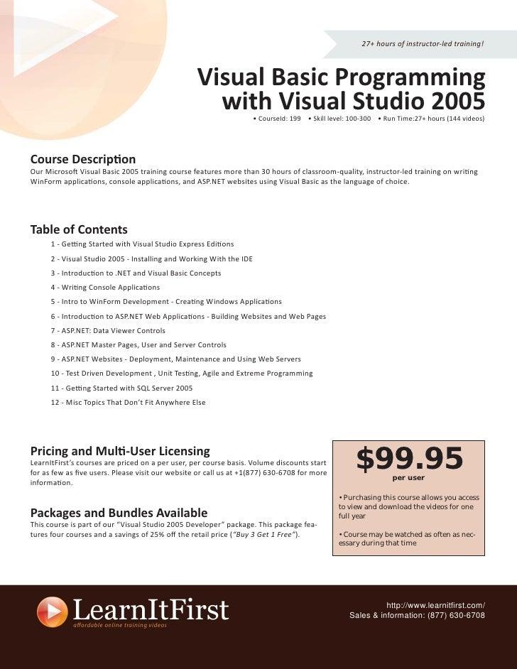 Visual Basic Programming with Visual Studio 2005