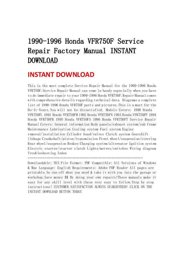 1990 1996 Honda Vfr750 F Service Repair Factory Manual