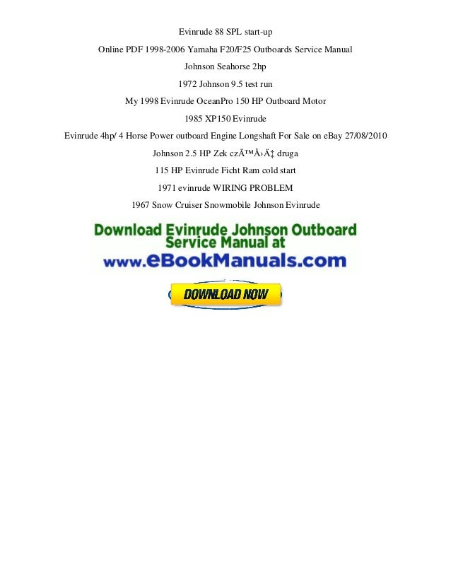 1990 2001 johnson evinrude outboard service manual 1 hp to for Outboard motor repair training online