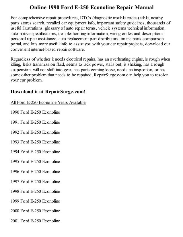 1990 ford e 250 econoline repair manual online. Black Bedroom Furniture Sets. Home Design Ideas