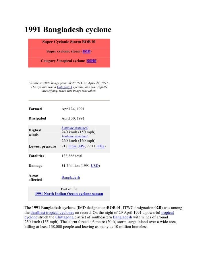 1991 Bangladesh cyclone             Super Cyclonic Storm BOB 01               Super cyclonic storm (IMD)          Category...