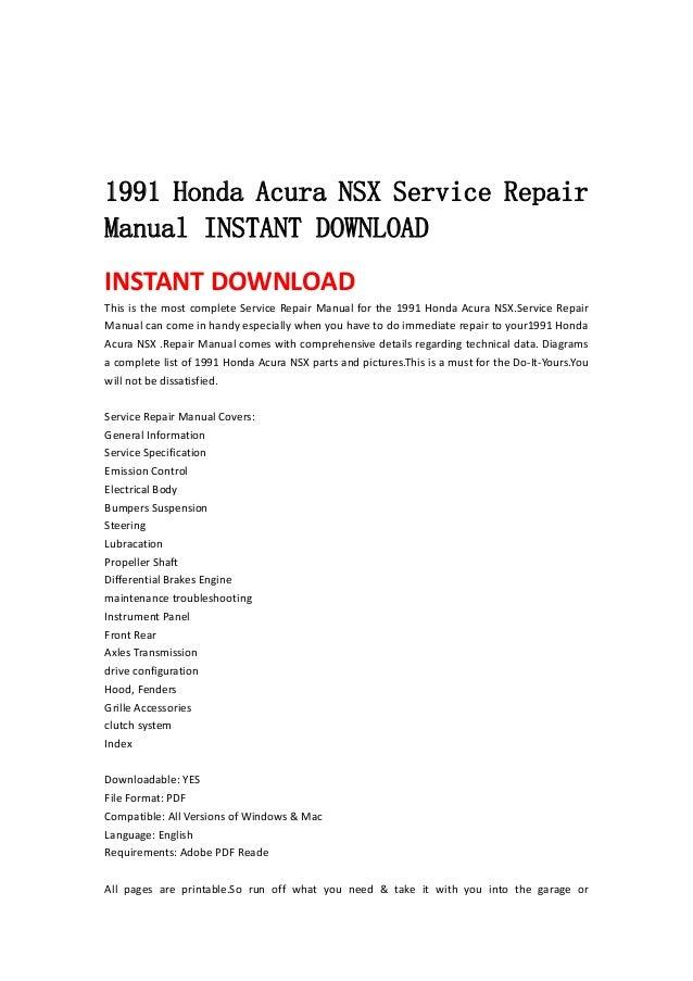 1991 honda acura nsx service repair manual instant download. Black Bedroom Furniture Sets. Home Design Ideas
