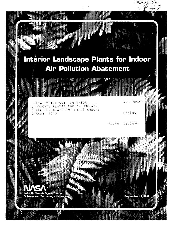 Interior landscape plants for indoor air pollution abatement for Interior design and indoor air quality