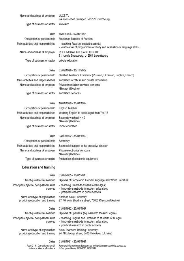 Extracurricular resume
