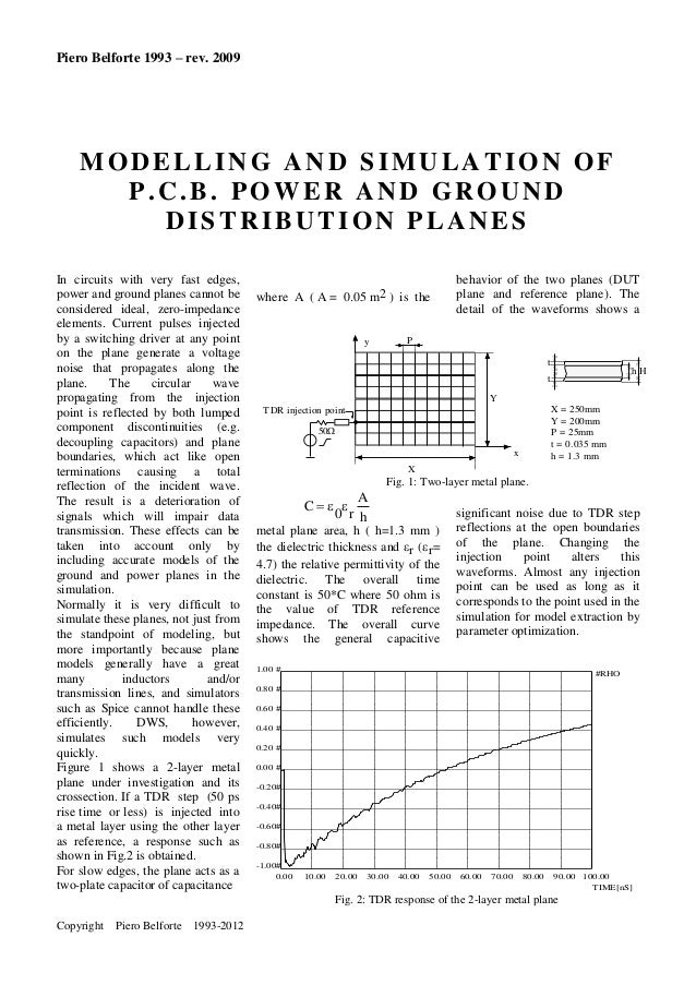 Piero Belforte 1993 – rev. 2009  MODELLING AND SIMULATION OF P.C.B. POWER AND GROUND DISTRIBUTION PLANES In circuits with ...