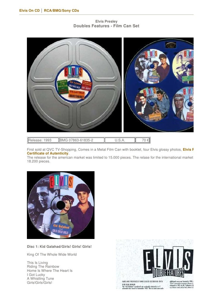 1993 Elvis Presley Doubles Features   Film Can Set