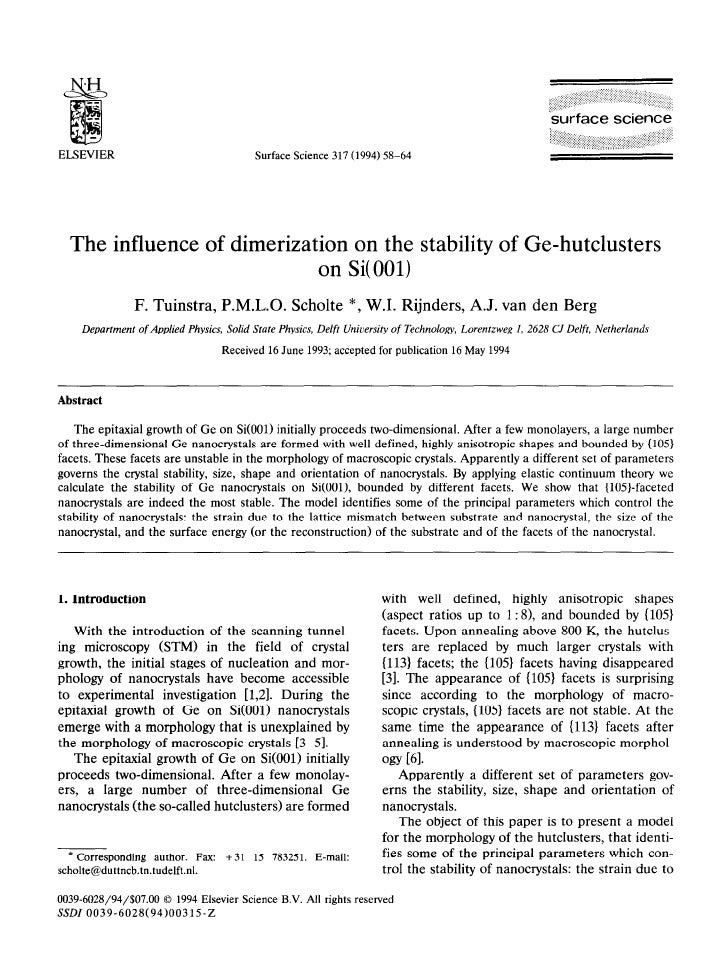 1994 the influence of dimerization on the stability of ge hutclusters on si(001)