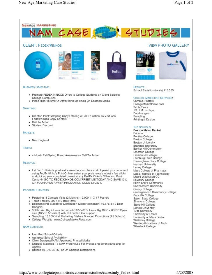 FedEx Kinkos Case Study - NAM Youth College Marketing & College Advertising Authority, Experts, & Consultants