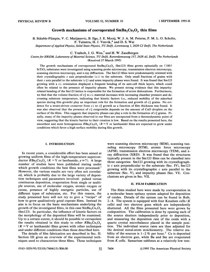 1995 growth mechanisms of coevaporated sm ba2cu3oy thin films