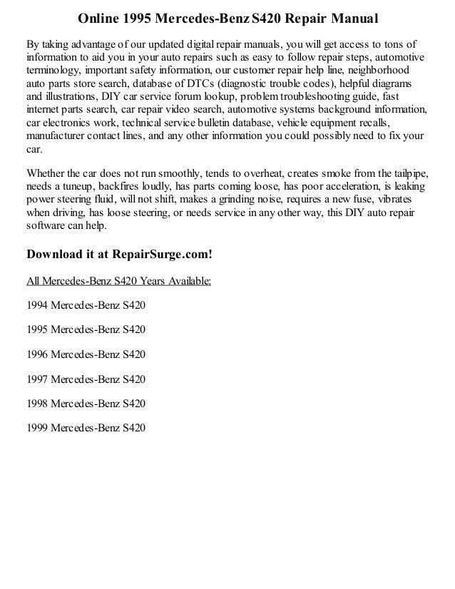 1995 mercedes s420 repair manual