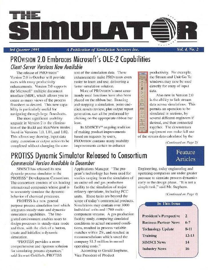 Simsci Newsletter 1995 Quarter3