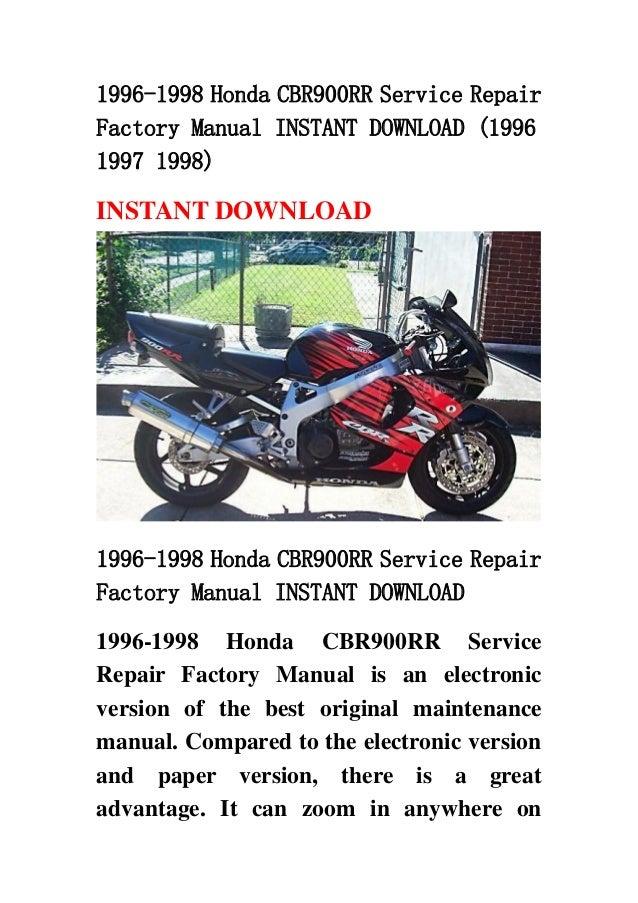 1996 1998 Honda Cbr900 Rr Service Repair Factory Manual