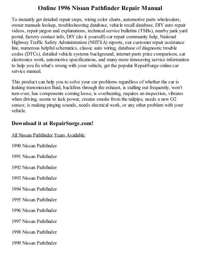 1996 Nissan Pathfinder Repair Manual Online