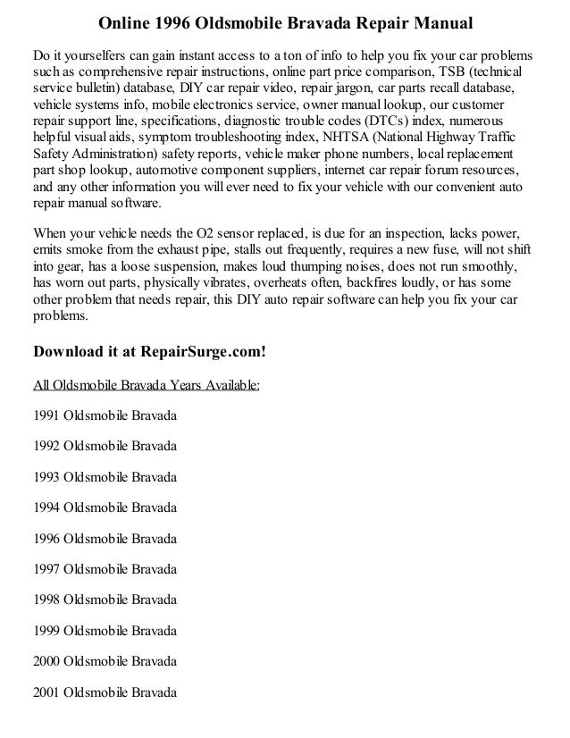 Oldsmobile Bravada 1996 1996 Oldsmobile Bravada Repair