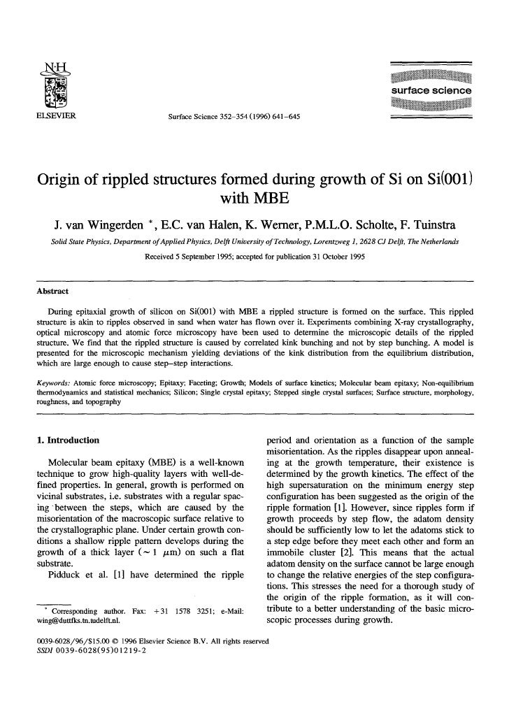 1996 origin of rippled structures formed during growth of si on si(001) with mbe