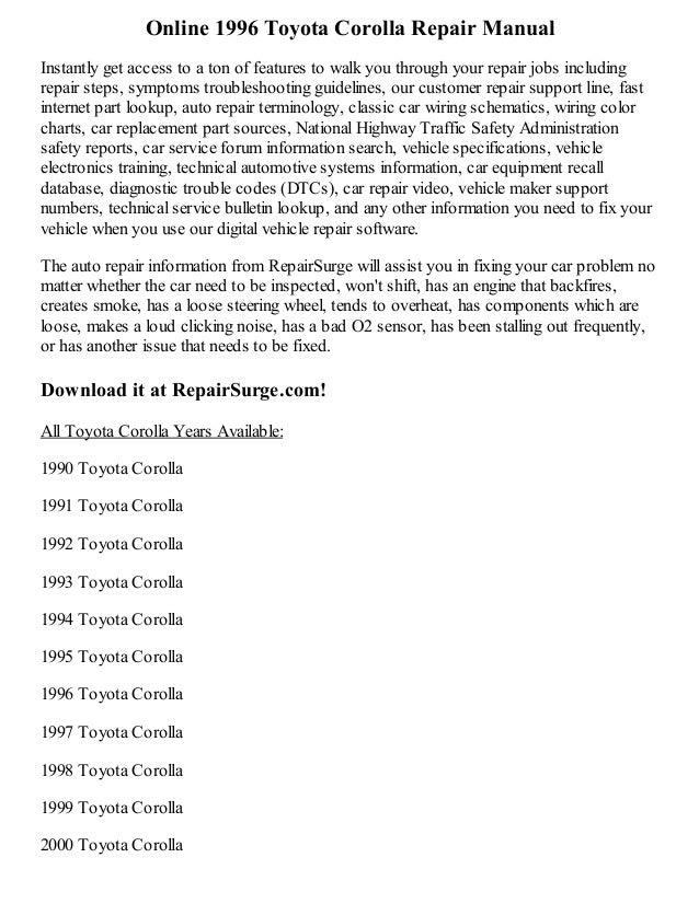2000 toyota corolla repair manual free download