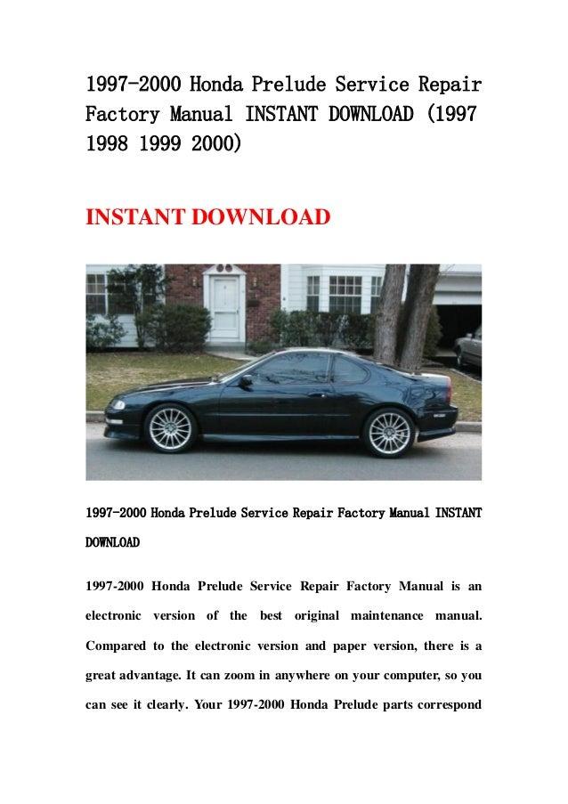 1997 2000 honda prelude service repair factory manual. Black Bedroom Furniture Sets. Home Design Ideas