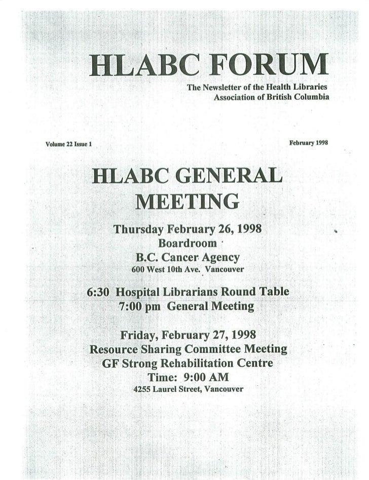 HLABC Forum: February 1998