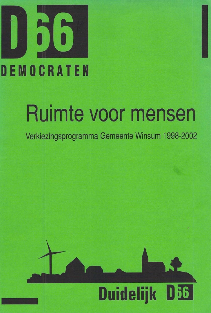 DEMOCRATEN      Ruimte voor mensen   Verkiezingsprogramma Gemeente Winsum 1998-2002                          Duidelijk