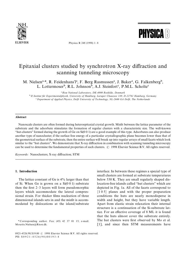 Physica B 248 (1998) 1—8        Epitaxial clusters studied by synchrotron X-ray diffraction and                     scannin...