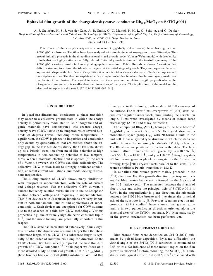 1998 epitaxial film growth of the charge density-wave conductor rb0.30 moo3 on srtio3(001)