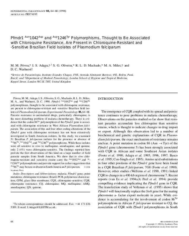 EXPERIMENTAL PARASITOLOGY       88, 64–68 (1998)ARTICLE NO.      PR974195Pfmdr1 Asn1042Asp and Asp1246Tyr Polymorphisms, T...