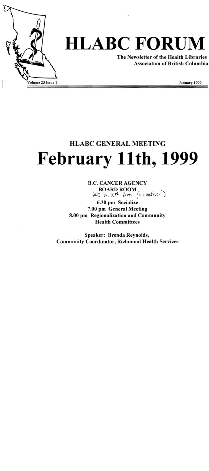 HLABC Forum: January 1999