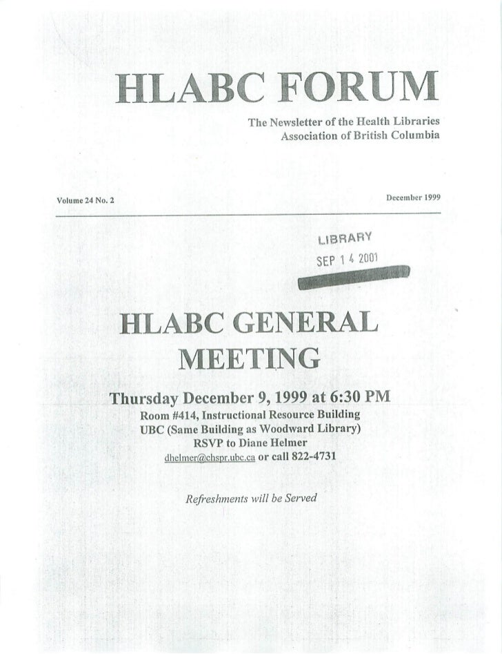 HLABC Forum: December 1999