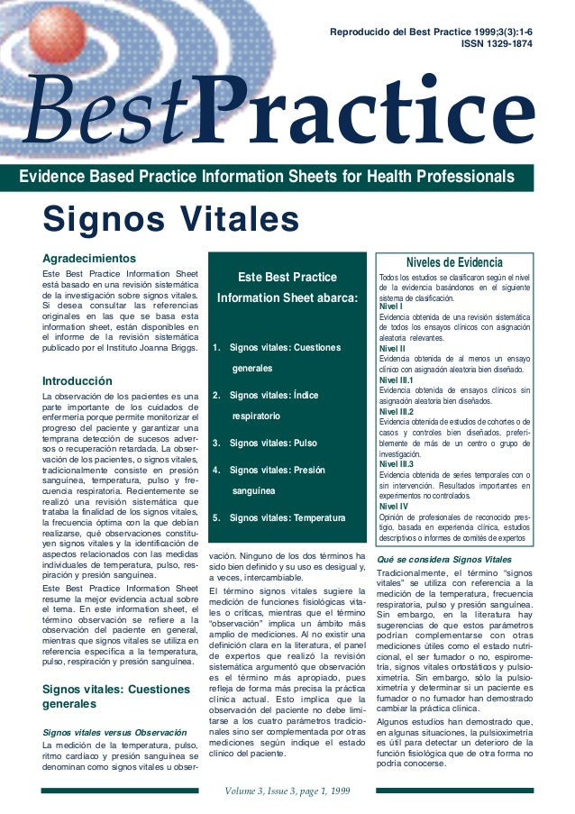 Volume 3, Issue 3, page 1, 1999 BestPracticeEvidence Based Practice Information Sheets for Health Professionals Reproducid...