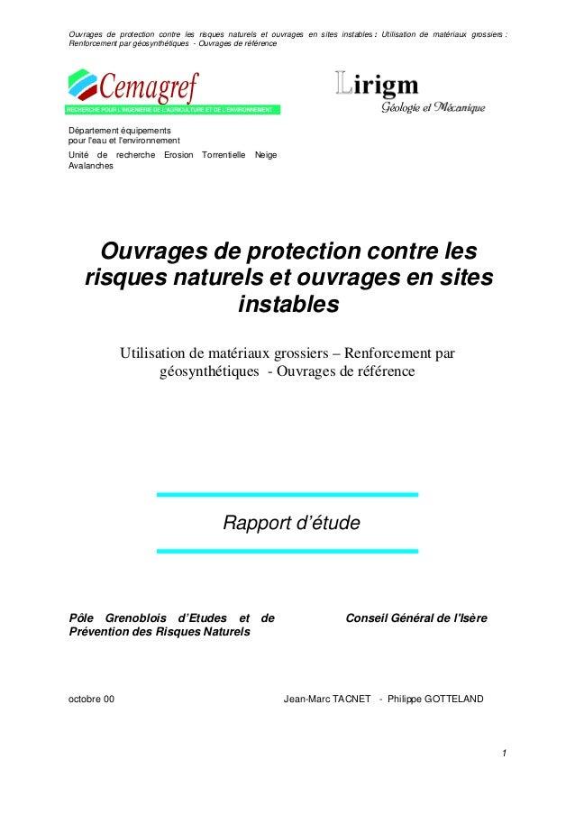 Ouvrages de protection contre les risques naturels et ouvrages en sites instables : Utilisation de matériaux grossiers : R...