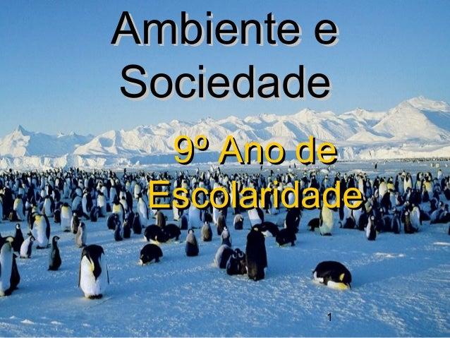 1Ambiente eAmbiente eSociedadeSociedade9º Ano de9º Ano deEscolaridadeEscolaridade