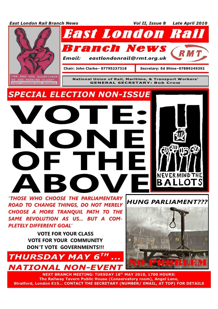 East London Rail Branch News                             Vol II, Issue 8   Late April 2010                     East London...