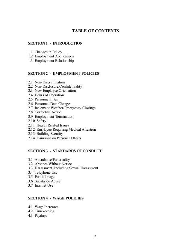 Employee handbook for Table 6 handbook 44