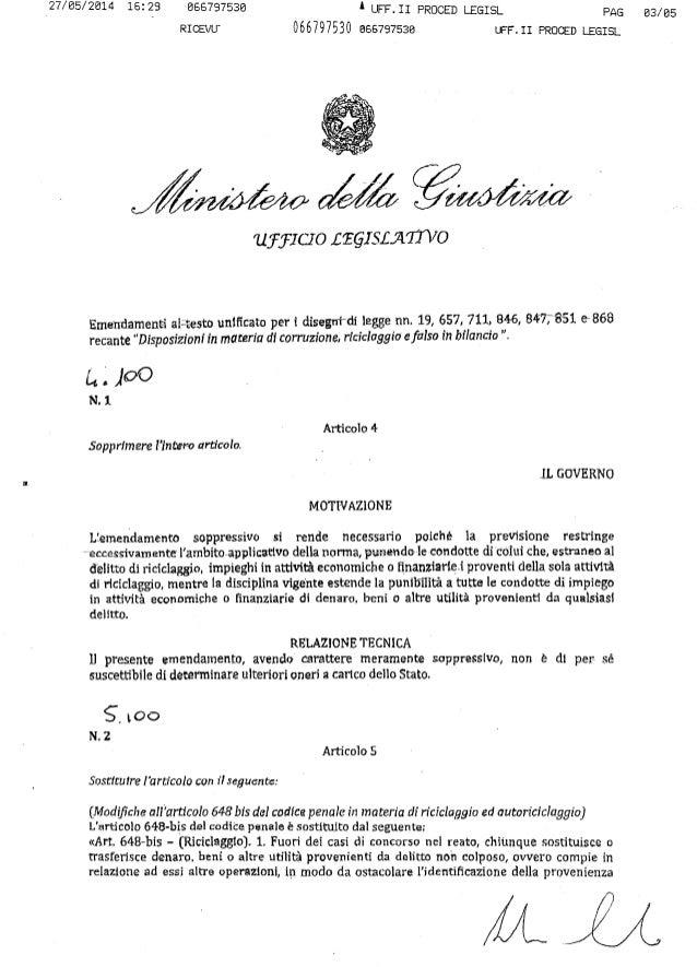 Autoriciclaggio, l'emendamento del governo