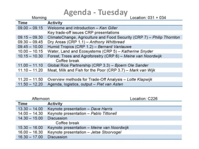 Workshop Trade-off Analysis - CGIAR_19 Feb 2013_Workshop agenda, output, etc._Piet van Asten